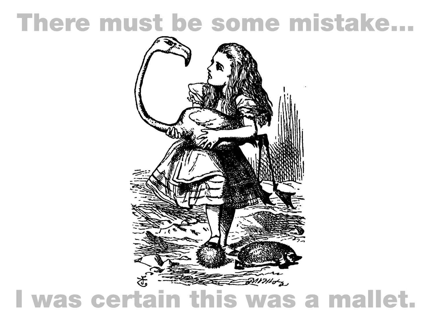 Alice in Wonderland scene with Alice holding a Flamingo croquet mallet