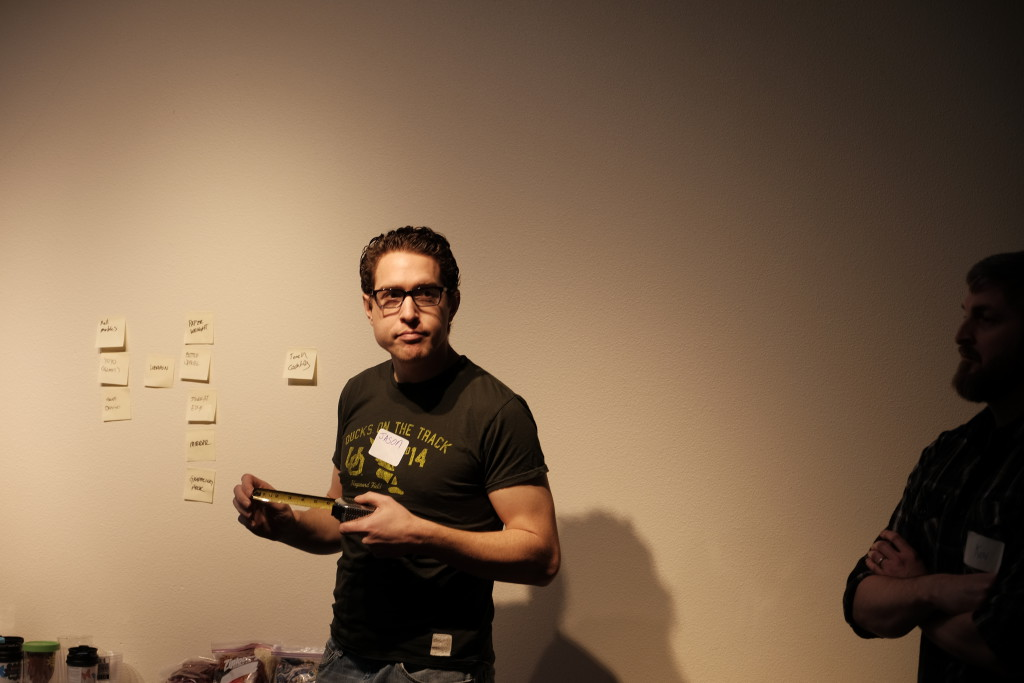 Workshop Attendee arranging sticky-notes